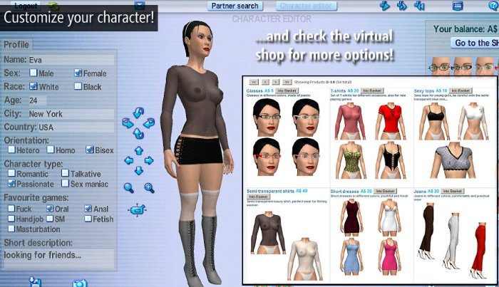 customize your 3d-avatar and check the virtual shop
